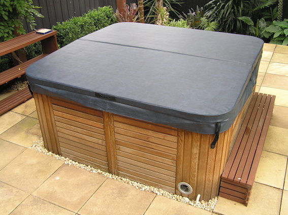 Spa Cover on Outdoor Portable Spa